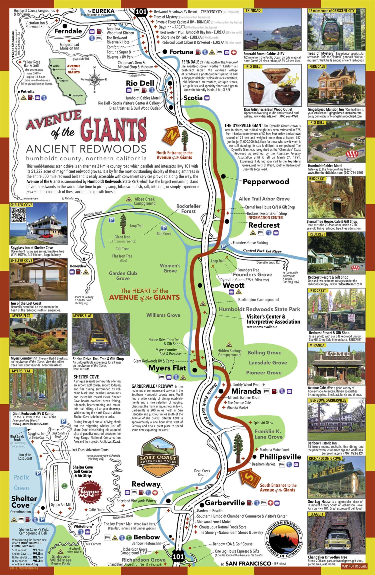 Avenue Of The Giants Map Avenue Of The Giants Map | Color 2018